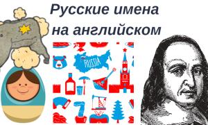 Русские имена на английском